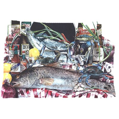Fish and Beers from New Orleans Indoor/Outdoor Throw Pillow