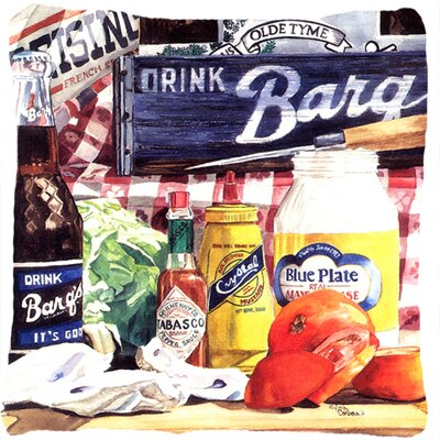 Blue Plate Mayonaise, Barqs A Tomato Sandwich Indoor/Outdoor Throw Pillow