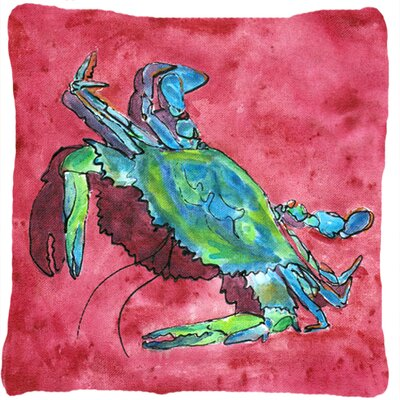 Crab Indoor/Outdoor Pink/Green Throw Pillow