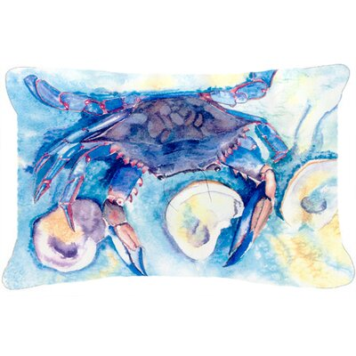 Crab Rectangular Blue Indoor/Outdoor Throw Pillow