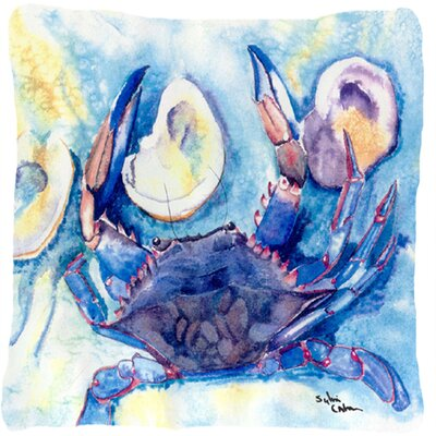 Crab Indoor/Outdoor Blue Throw Pillow