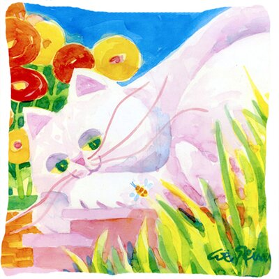 White Cat Indoor/Outdoor Throw Pillow
