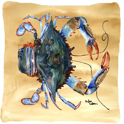 Crab Beige/Blue Indoor/Outdoor Throw Pillow