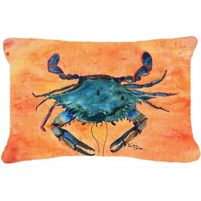 Burgett Crab Rectangular Orange/Blue Indoor/Outdoor Throw Pillow