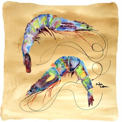 Shrimp Indoor/Outdoor Throw Pillow Color: Tan
