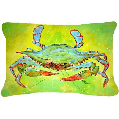 Coastal Blue Crab Indoor/Outdoor Throw Pillow