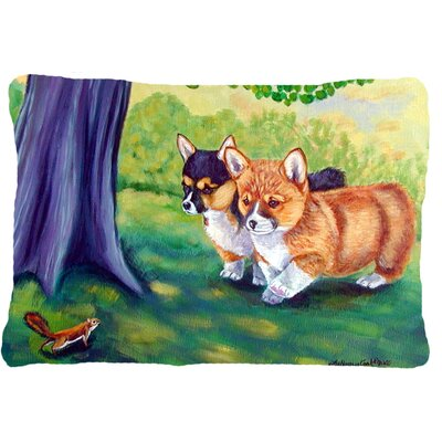 Corgi Green Lumbar Pillow