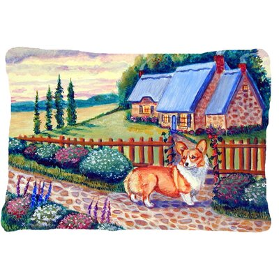 Pembroke Corgi at The Cottage Indoor/Outdoor Throw Pillow