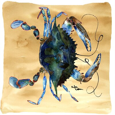 Crab Beige/Green Indoor/Outdoor Throw Pillow