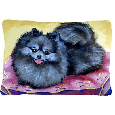 Pomeranian Black Indoor/Outdoor Throw Pillow