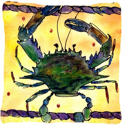 Crab Indoor/Outdoor Beige/Green Throw Pillow