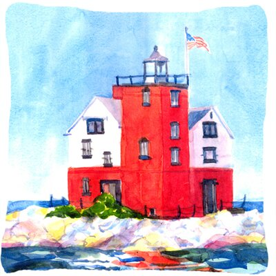 Lighthouse on The Rocks Harbour Indoor/Outdoor Throw Pillow