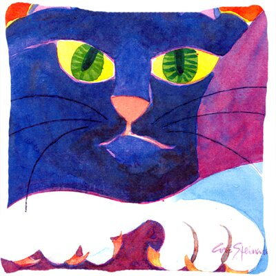 Big Blue Cat Indoor/Outdoor Throw Pillow