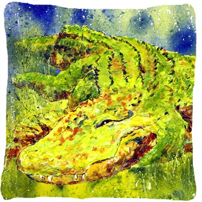 Alligator Indoor/Outdoor Green Throw Pillow