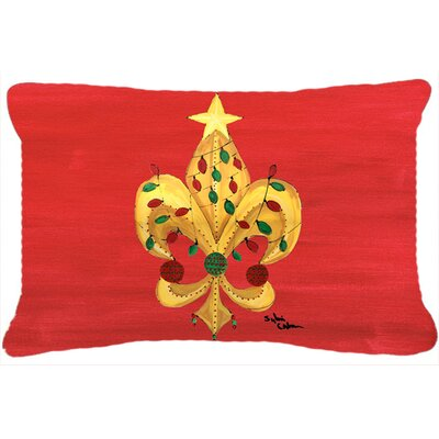 Christmas Fleur De Lis Tree with Lights Indoor/Outdoor Throw Pillow