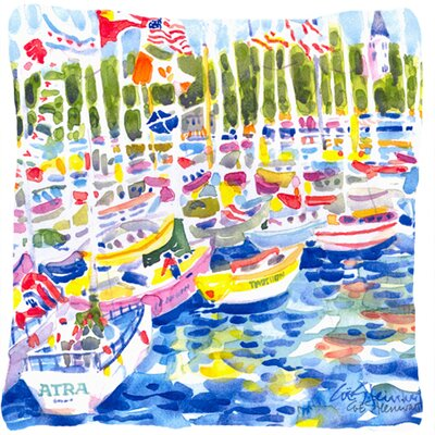 Bunch of Boats at Harbour Indoor/Outdoor Throw Pillow