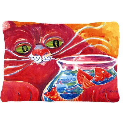 Big Red Cat at The Fishbowl Indoor/Outdoor Throw Pillow