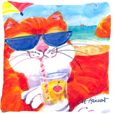 Cool Cat with Sunglasses at The Beach Indoor/Outdoor Throw Pillow
