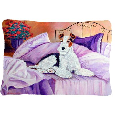 Fox Terrier Waiting on Mom Indoor/Outdoor Throw Pillow