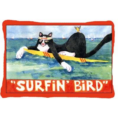 Black and White Cat Surfin Bird Indoor/Outdoor Throw Pillow