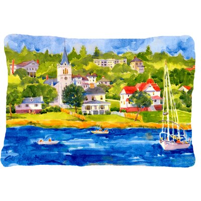 Scene with Sailboat Indoor/Outdoor Throw Pillow