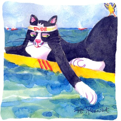 Black and White Cat Surfin Bird Indoor/Outdoor Throw Pillow
