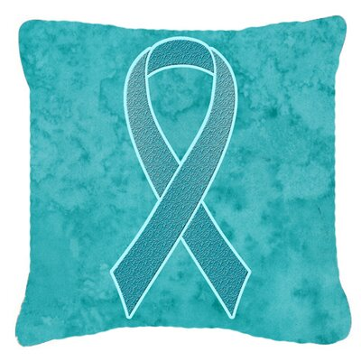 Ribbon for Ovarian Cancer Awareness Indoor/Outdoor Throw Pillow Size: 14