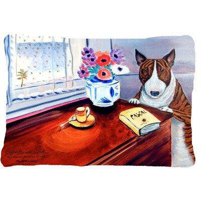 Bull Terrier Beside Table Indoor/Outdoor Throw Pillow