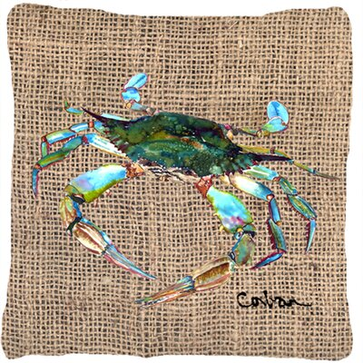 Crab Indoor/Outdoor Brown Throw Pillow