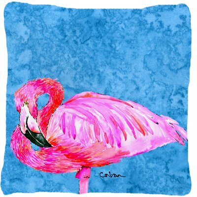 Flamingo Blue; Pink Indoor/Outdoor Throw Pillow