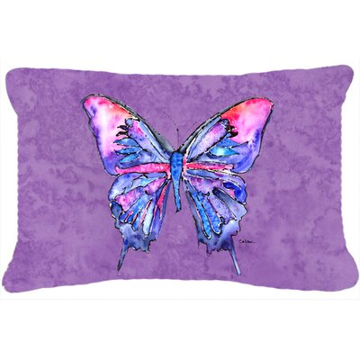 Butterfly Indoor/Outdoor Blue Rectangular Throw Pillow Color: Purple