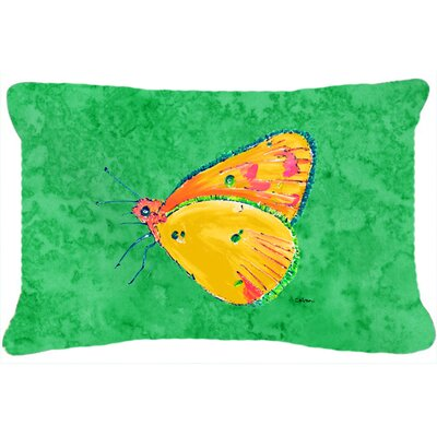 Butterfly Indoor/Outdoor Green Throw Pillow