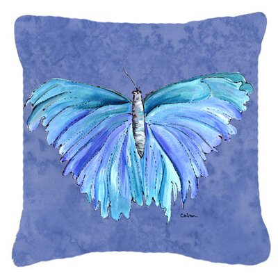 Butterfly Indoor/Outdoor Blue Throw Pillow Size: 18 H x 18 W x 5.5 D