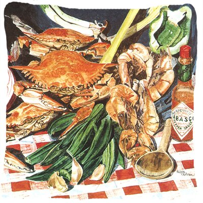 Square Crab Boil Indoor/Outdoor Throw Pillow