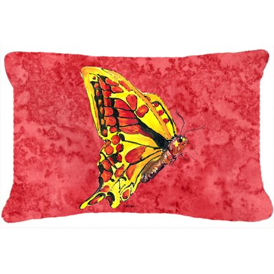 Butterfly Indoor/Outdoor Rectangular Pink Throw Pillow
