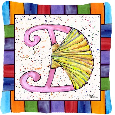 Beach and Seafood Monogram Indoor/Outdoor Throw Pillow Letter: D