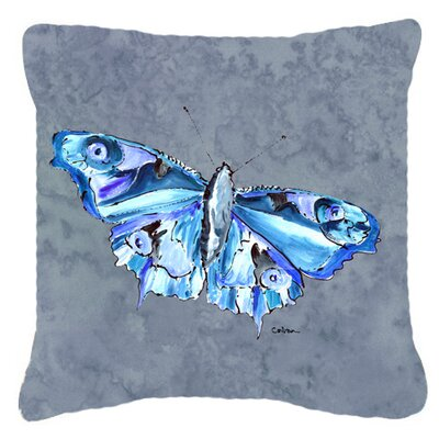Butterfly Indoor/Outdoor Square Gray Throw Pillow Size: 14 H x 14 W x 4 D