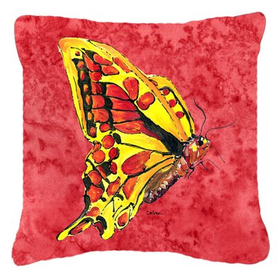Butterfly Red Indoor/Outdoor Throw Pillow Size: 14 H x 14 W x 4 D