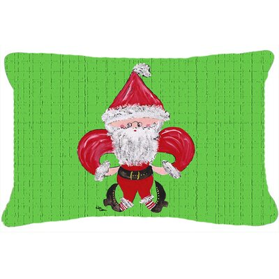 Christmas Fleur De Lis Santa Claus Indoor/Outdoor Throw Pillow