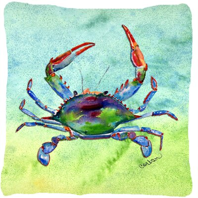 Crab Square Green Indoor/Outdoor Throw Pillow