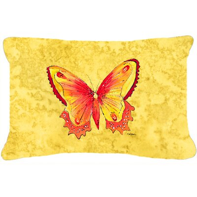 Butterfly Indoor/Outdoor Orange/Yellow Throw Pillow