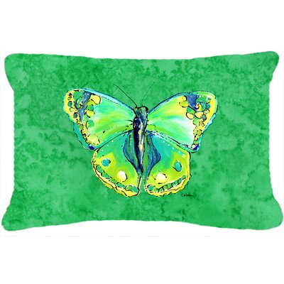 Butterfly Indoor/Outdoor Green/Yellow Throw Pillow
