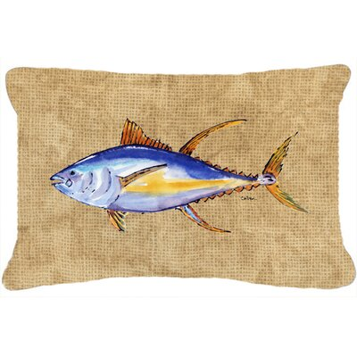 Fish Brown/Blue Indoor/Outdoor Throw Pillow