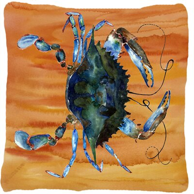 Crab Orange/Blue Indoor/Outdoor Throw Pillow