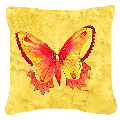 Butterfly Yellow Indoor/Outdoor Throw Pillow Size: 14 H x 14 W x 4 D