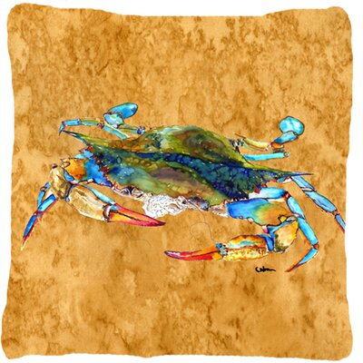 Crab Indoor/Outdoor Beige Throw Pillow