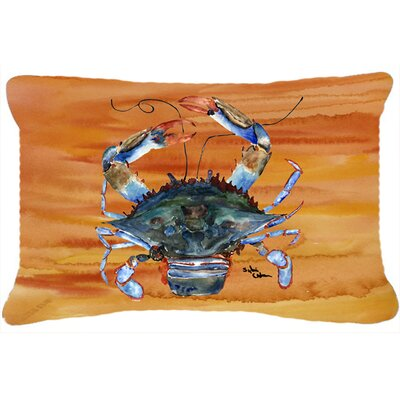 Burgett Crab Rectangular Orange Indoor/Outdoor Throw Pillow