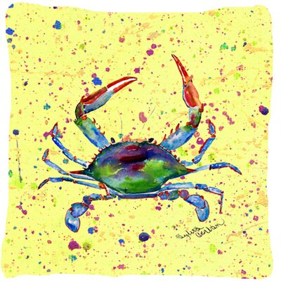 Crab Indoor/Outdoor Yellow Throw Pillow