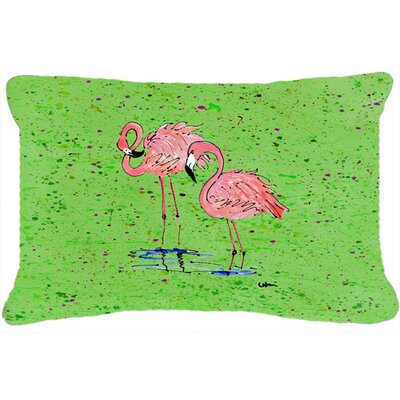 Flamingo Rectangular Indoor/Outdoor Throw Pillow Color: Green