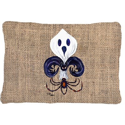 Halloween Ghost Spider Bat Fleur De Lis Indoor/Outdoor Throw Pillow